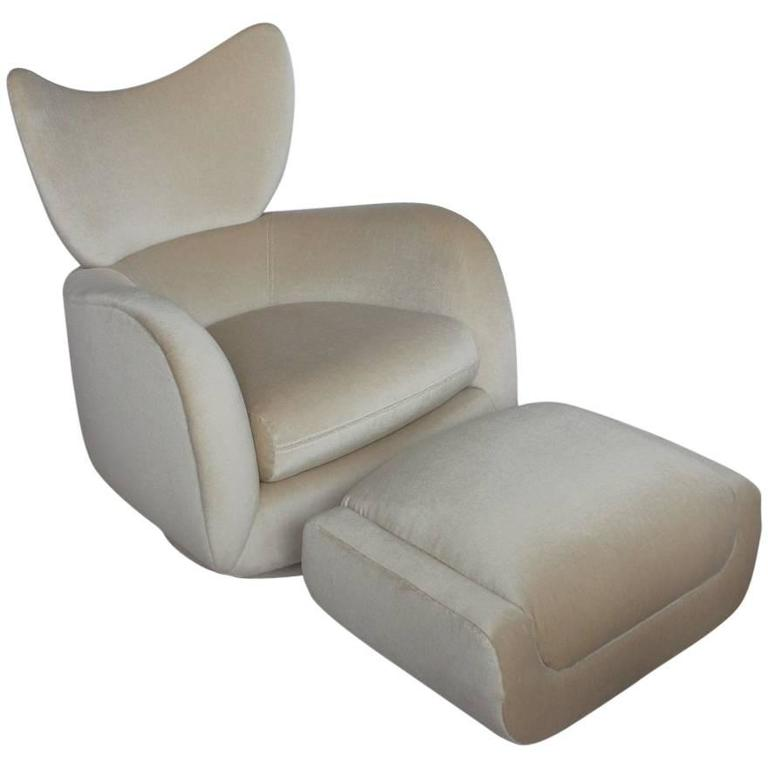 1970s Swivel Lounge Mohair Chair and Ottoman by Vladimir Kagan 1