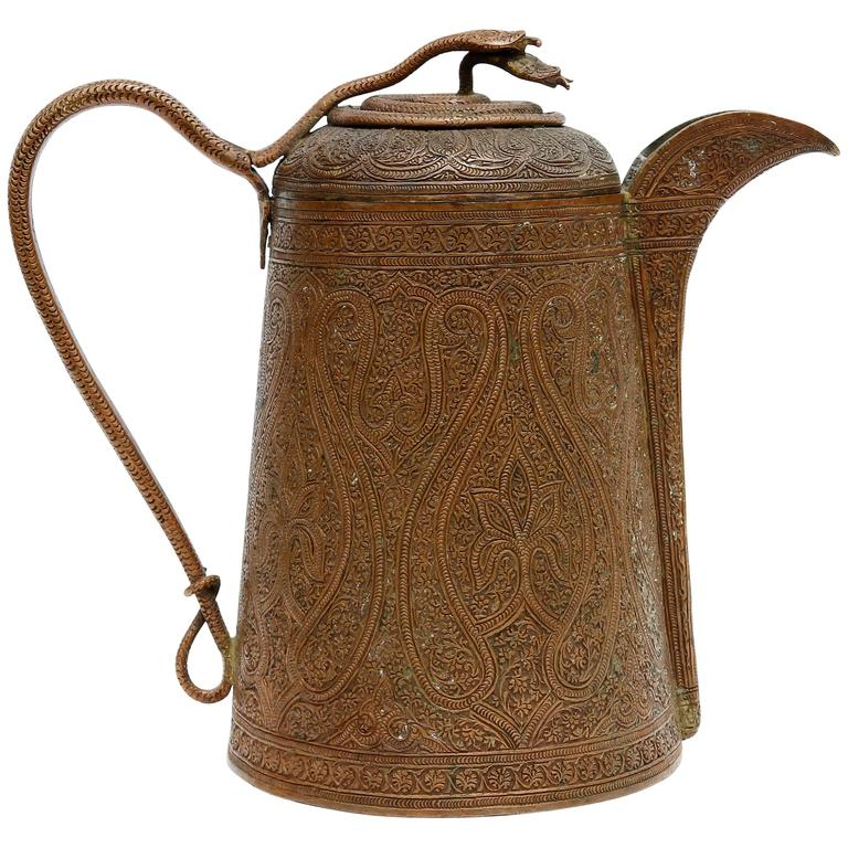 Exceptional Antique Persian Islamic Copper Coffee Pot ...