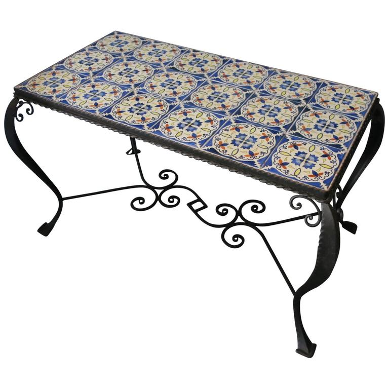 Mid century wrought iron and tiled coffee or cocktail for Wrought iron coffee table for sale