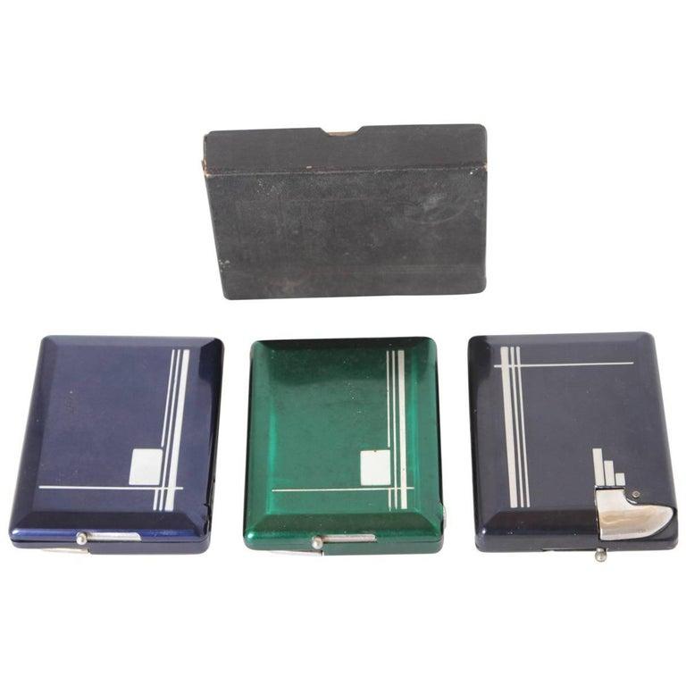 Machine Age Art Deco Magic Case Automatic Cigarette Case and Lighter For Sale
