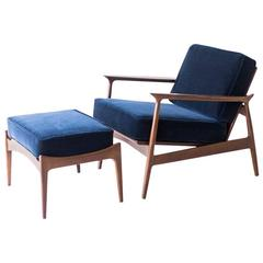 Ib Kofod Larsen Lounge Chair and Ottoman for Selig