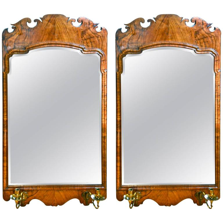 Pair of 19th Century Walnut Bevelled Mirrors in George II Style