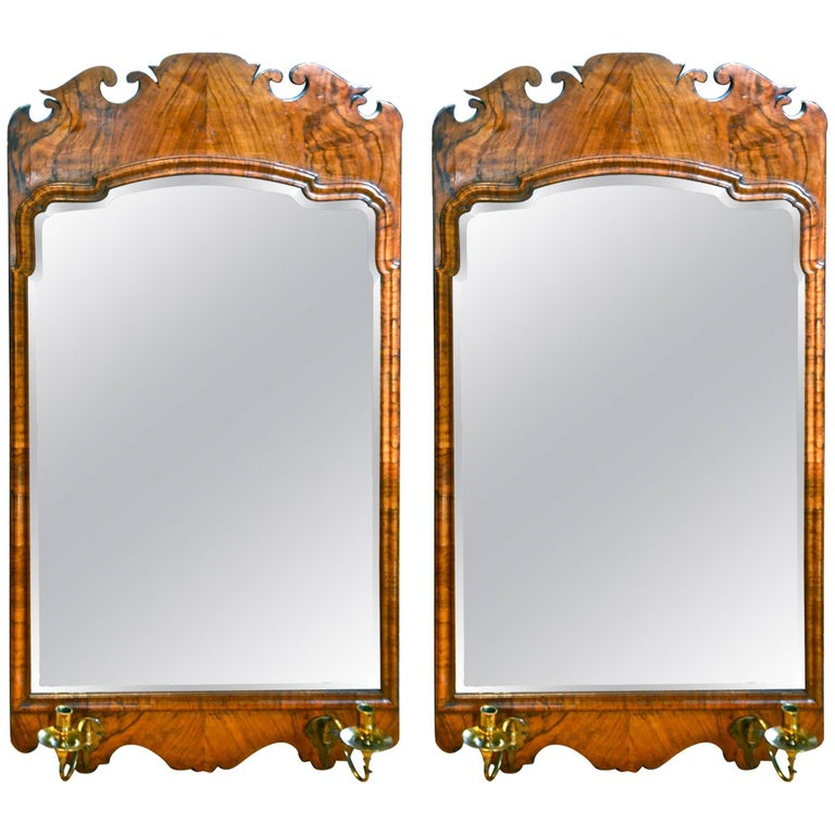 Pair of 19th Century Walnut Bevelled Mirrors in George II Style For Sale