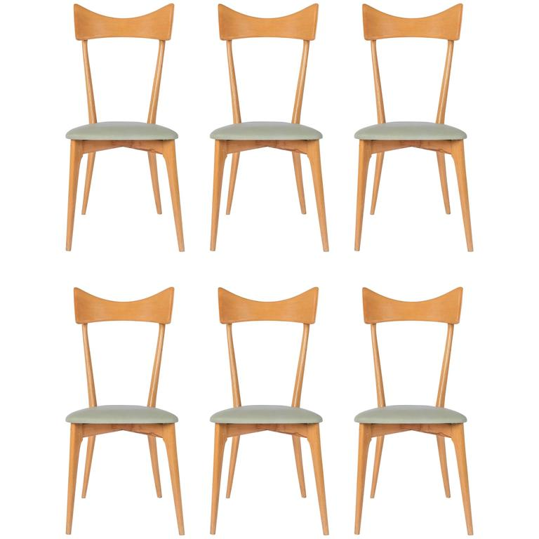Set of Six Ico Parisi Dining Chairs For Sale