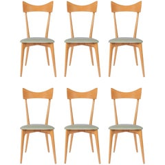 Set of Six Ico Parisi Dining Chairs