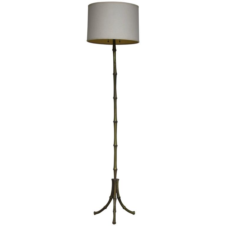 1940's French Faux Bamboo Bronze Floor Lamp