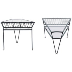 "Maurizio Tempestini Wrought Iron and Glass ""Scherzo"" Tables for Salterini, Pair"