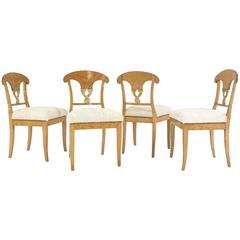 Set of Four Satin Birch Biedermeier Chairs in Ivory Brazilian Cowhide circa 1820