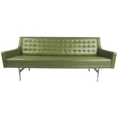 Stylish Vintage Modern Sofa in Tufted Green Vinyl