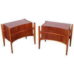 Pair of Walnut Curved Front Nightstands Designed by William Hinn