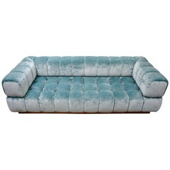 Very Modern Sofa in Sky Blue Velvet