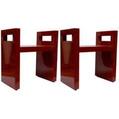 Pair of Benches in Wood Lacquered in Red