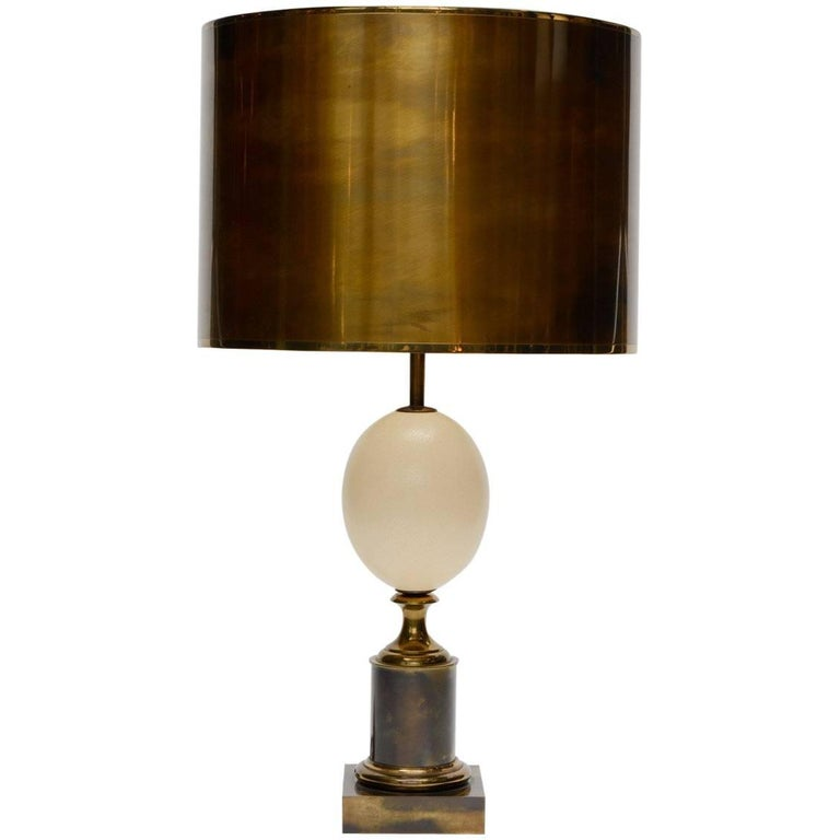 Maison Charles Patinated Brass and Ostrich Egg Table Lamp