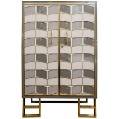 Mirror and Brass Cabinet