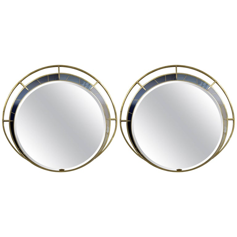 Exceptional pair of large round mirrors for sale at 1stdibs for Large round mirrors for sale