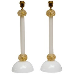 Pair of Table Lamps in White and Gold Murano Glass