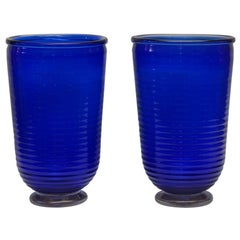 Pair of Vases in Blue Murano Glass Signed by Toso