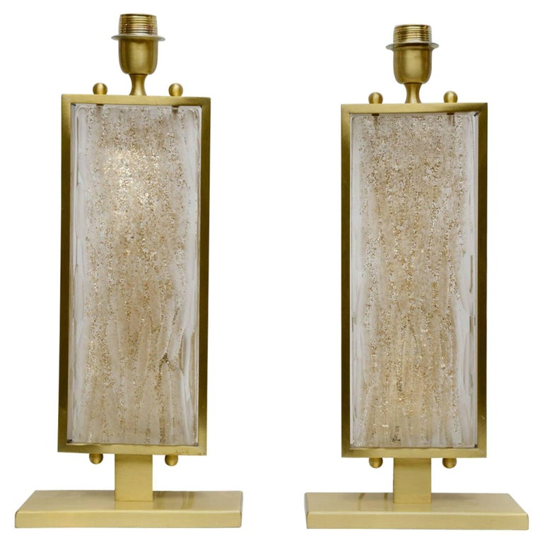 Pair of Table Lamps in Murano Glass and Metal