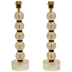 Pair of Table Lamps in Gold and Black Murano Glass