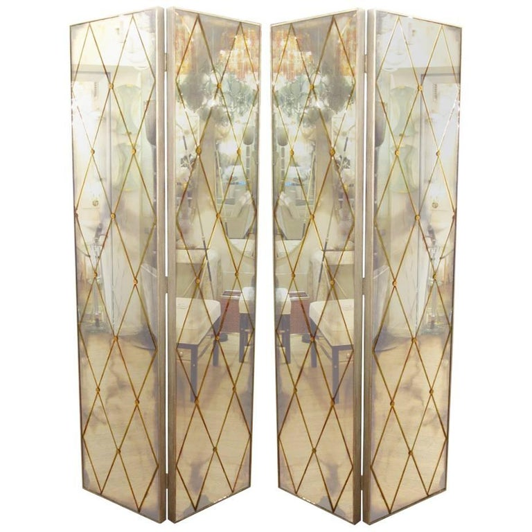 Four-Panel Smoked Mirrored Screen 1