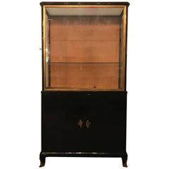 Mid-Century Modern Ebonized Vitrine or China Cabinet Bookcase Manner of Jansen