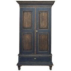 Period Gustavian Cabinet in Black Paint