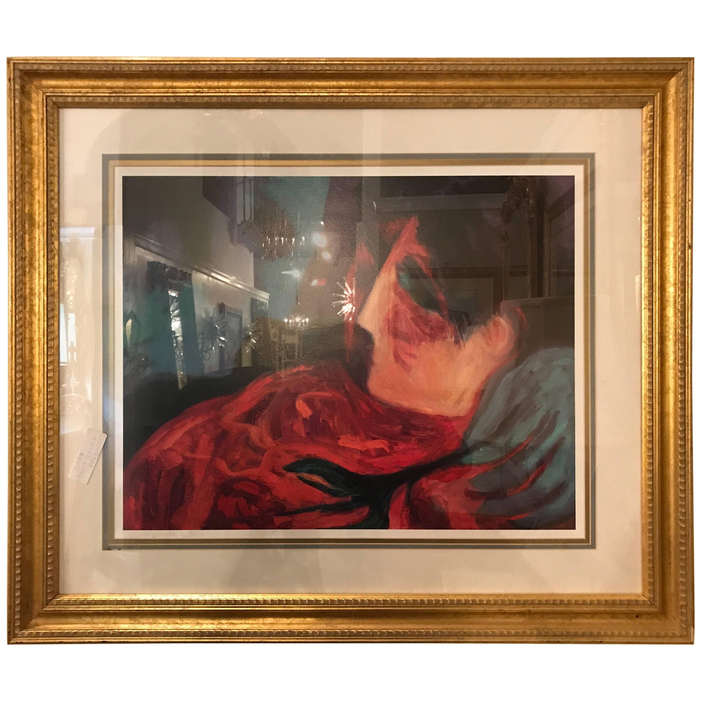 "Barbara Wood ""Desert Flower"" Framed Lithograph Matted and Framed"