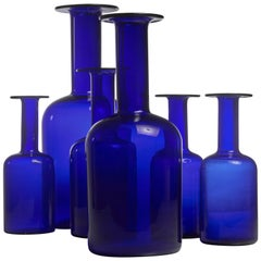 Otto Brauer Set of Six Blue Glass Vases for Holmegaard, Denmark, 1960s