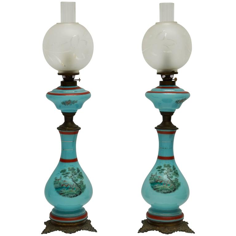 Pair of 19th Century French Opaline Lamps For Sale