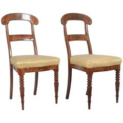 Pair of Walnut Chairs Form 1850s