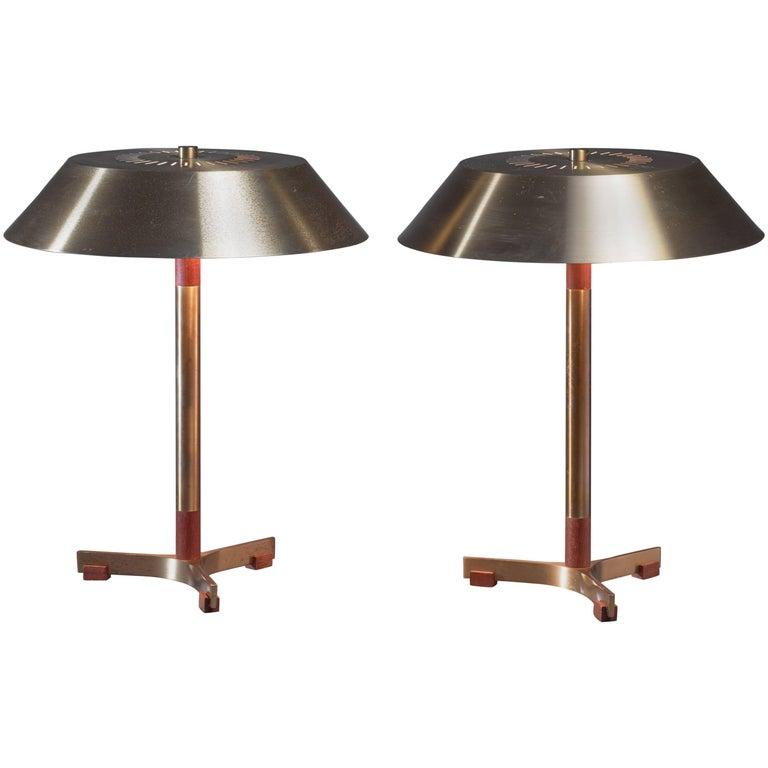 Jo Hammerborg Pair of 'President' Desk Lamps for Fog & Mørup, Denmark, 1960s
