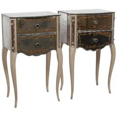 Mirrored Glass Nightstands by Marchand, American, 1940s