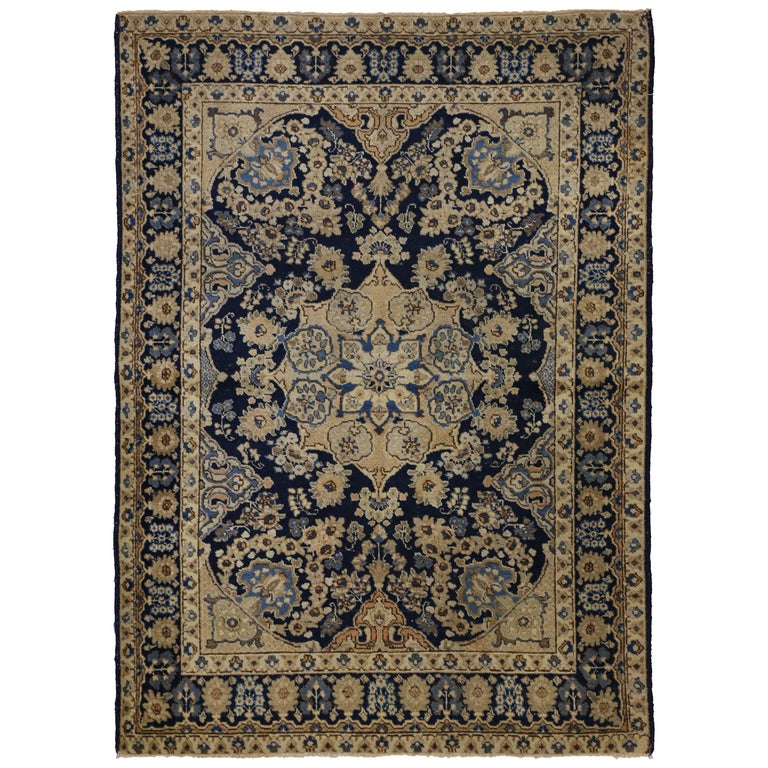 Antique Persian Tabriz Rug With Hollywood Regency Style For