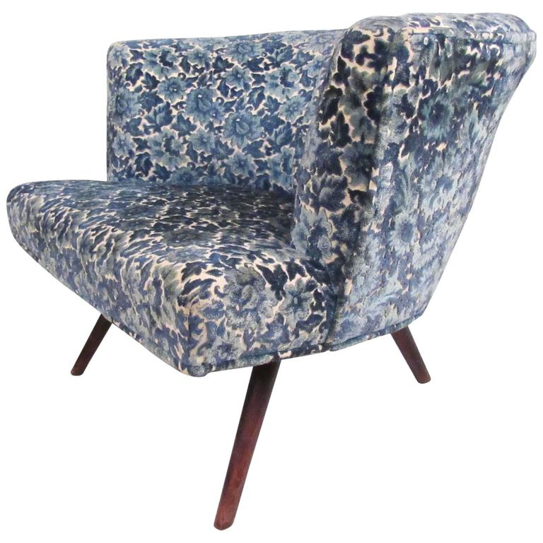 Mid-Century Modern Upholstered Club Chair