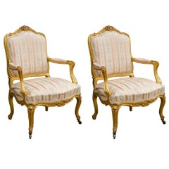 Pair of Giltwood Louis XV Style Armchairs