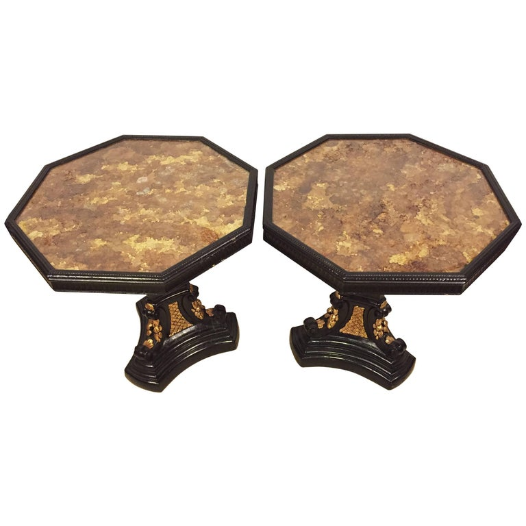 Pair of Gilt Glass Top Ebonized and Gilt Decorated End or Side Tables