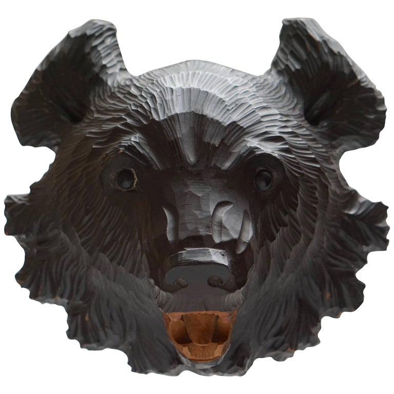 Hand-Carved Wooden Black Forest Bear For Sale