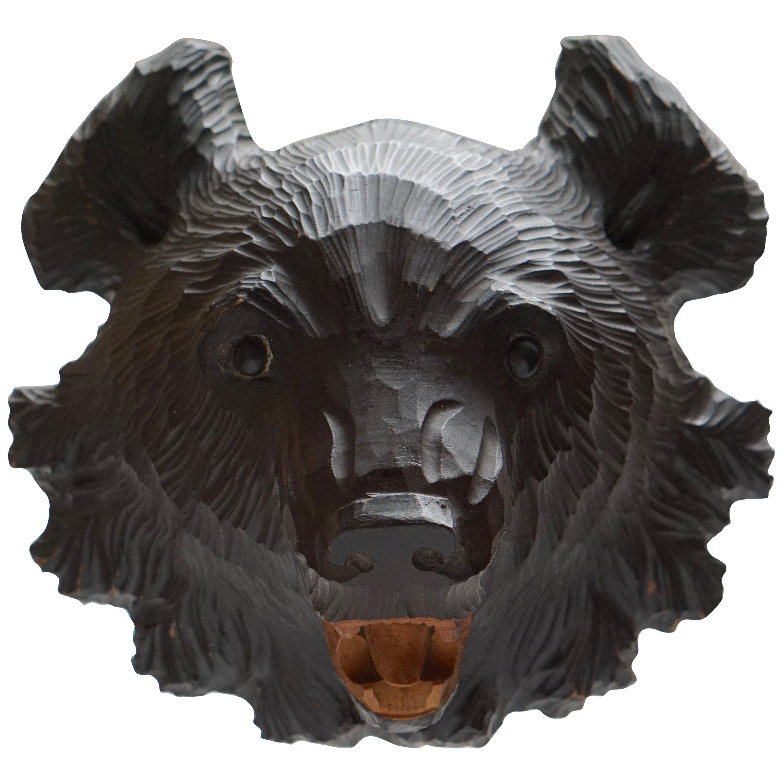 Hand-Carved Wooden Black Forest Bear