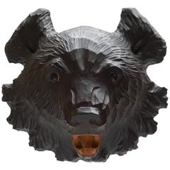 Hand-Carved Wooden Black Forest Bear