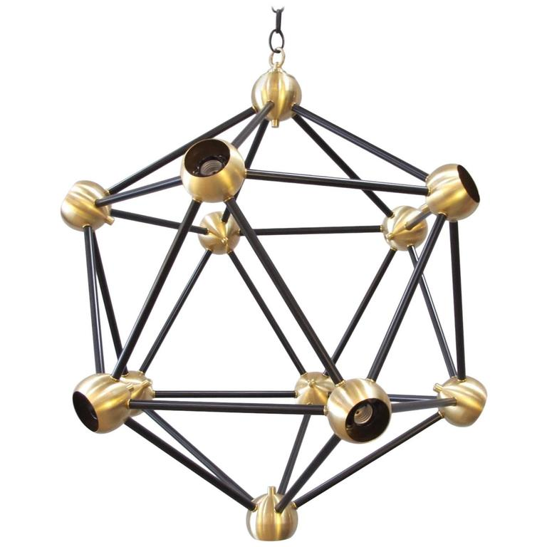 ON SALE!  Black and Brass Pendant Light For Sale