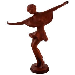 Keramos, Vienna, Dancing Woman Figure in Red Clay