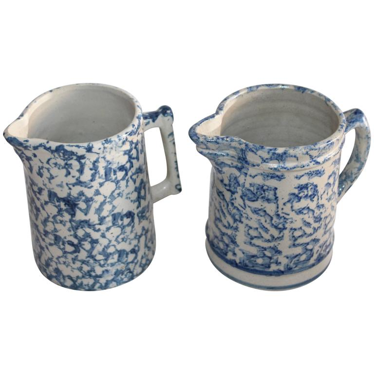 Pair of 19th Century Sponge Ware Pottery Pitchers