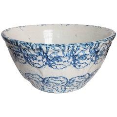 Monumental 19th Century Spongeware Pottery Mixing Bowl