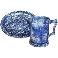 19th Century Sponge Ware Pottery Platter & Water Pitcher