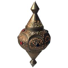 Vintage Moroccan Bejeweled 'Shehrazad' Brass Ceiling Light, Marrakech, 1970s