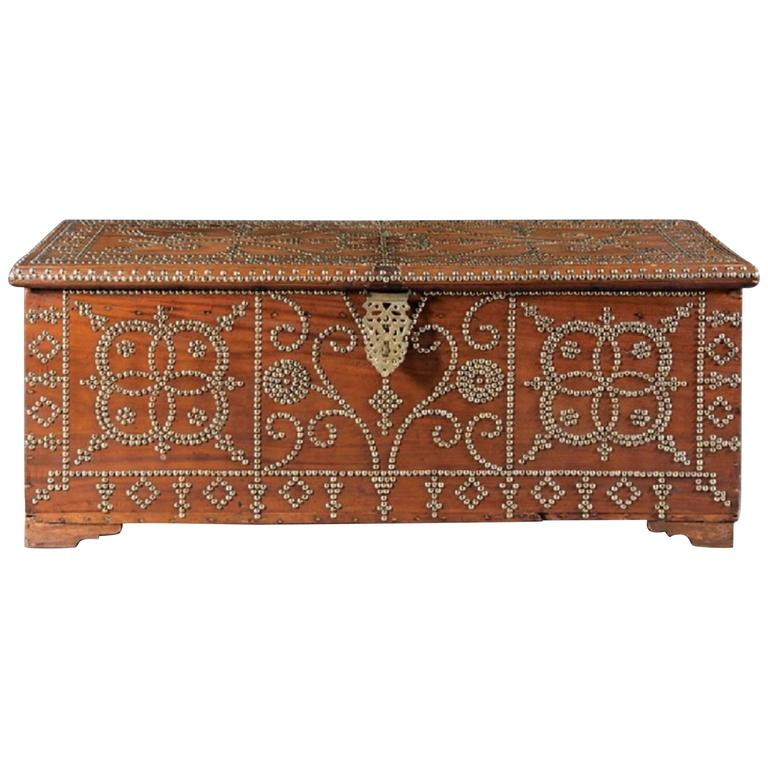 Antique Spanish Colonial-Style Hardwood Chest For Sale