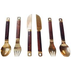 Danish Mid-Century Brass and Teak Cutlery, Flatware Set, 36 Pieces by Carl Cohr