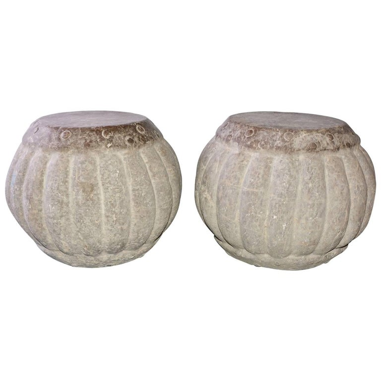Carved Stone Garden Stools Or Tables Pair At 1stdibs