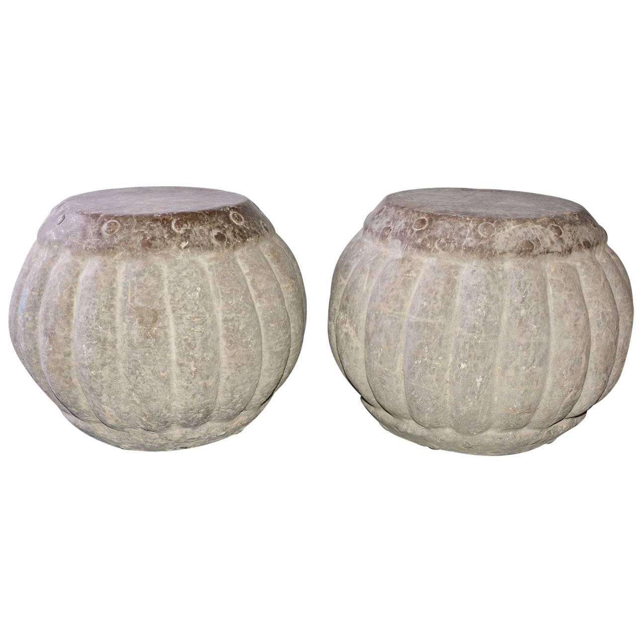 Carved Stone Garden Stools Or Tables, Pair For Sale