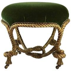 Fournier Style Napoleon III Gilt Rope Ottoman, circa 1860